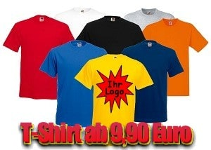 Blanko Fruit of the Loom T-Shirts mit Ihrem Logo schon ab 9,90 Euro