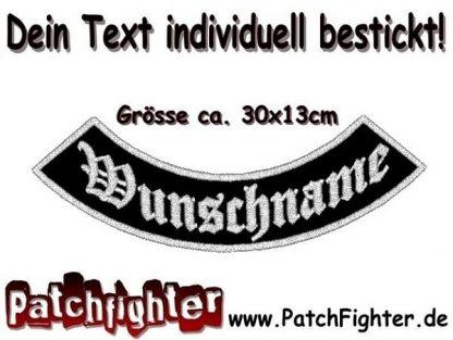 DEIN TEXT Bogen Patch Aufnäher Rückenaufnäher BikerBottom Rocker 30x13cm