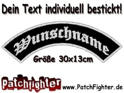 DEIN TEXT Bogen Patch Aufnäher Rückenaufnäher Top Rocker 30x13cm