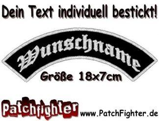 WUNSCHTEXT Bogen Dein Text Patch Aufnäher Biker Top Rocker 18x7cm