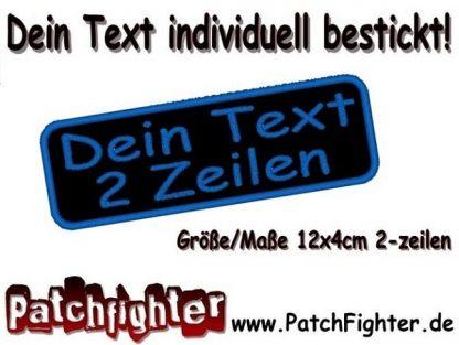 WUNSCHTEXT Dein Text 2 Zeilen Patch Aufnäher Abgerundet 12x4cm