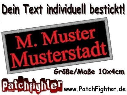 WUNSCHTEXT Dein Text Patch Aufnäher Applikation 2-zeilen 10x4cm