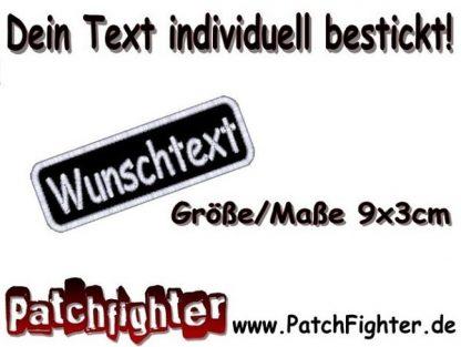 WUNSCHTEXT Dein Text bestickt Patch Aufnäher Abgerundet 9x3cm