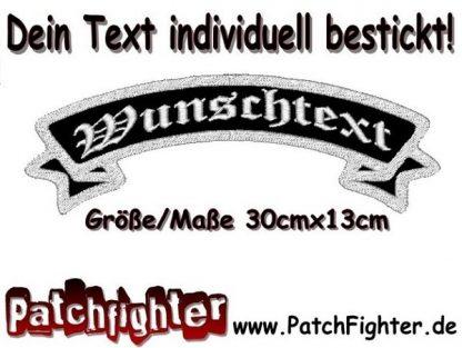 WUNSCHTEXT Schleife Biker Patch Aufnäher Rückenaufnäher Top Rocker 30x13cm