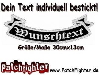 WUNSCHTEXT Schleife Patch Aufnäher Rückenaufnäher Biker Bottom Rocker 30x13cm