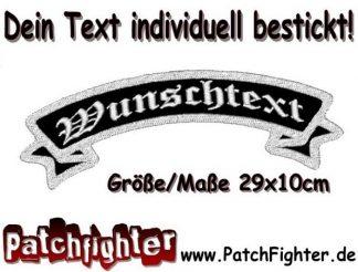 WUNSCHTEXT Schleife Patch Aufnäher Rückenaufnäher Top Rocker 29x10cm