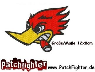 ANGRY WOODY Aufnäher Patch V8 Hot Rod Rockabilly Woodpecker Birds