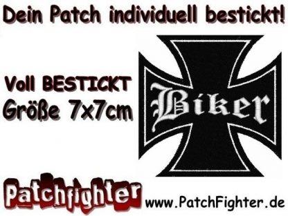 Biker Eisernes Kreuz Iron cross Patch Aufnäher 7x7cm