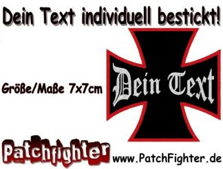 Dein Text Wunschtext aufnäher Eisernes Kreuz Iron cross Patch 7x7cm