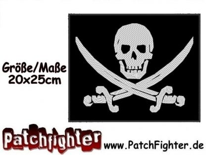 Piratenflagge Skull Flagge Backpatch Patch Aufnäher 20x25cm