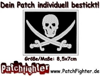 Skull Flagge Totenkopf Piratenflagge Patch Aufnäher 8x7cm