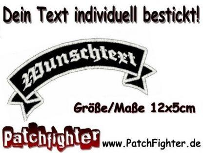 WUNSCHTEXT Schleife oben Dein Text Patch Aufnäher 12x5cm