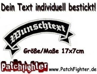WUNSCHTEXT Schleife oben Dein Text Patch Aufnäher 17x7cm