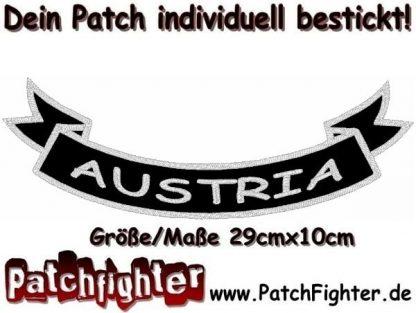 Austria-Schleife-Patch-Aufnäher-Rückenaufnäher-Biker-Bottom-Rocker-29x10cm