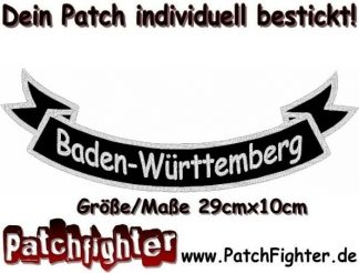 Baden-Württemberg-Schleife-Patch-Aufnäher-Rückenaufnäher-Biker-Bottom-Rocker-29x10cm
