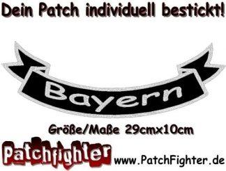 Bayern-Schleife-Patch-Aufnäher-Rückenaufnäher-Biker-Bottom-Rocker-29x10cm