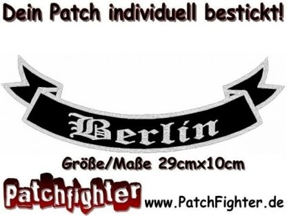 Berlin-Schleife-Patch-Aufnäher-Rückenaufnäher-Biker-Bottom-Rocker-29x10cm
