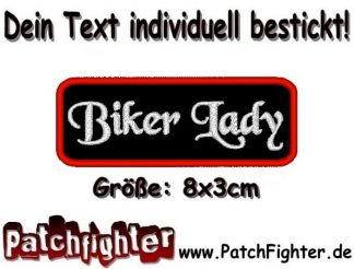 Biker Lady Textilaufnäher Patch Aufnäher 8x3cm