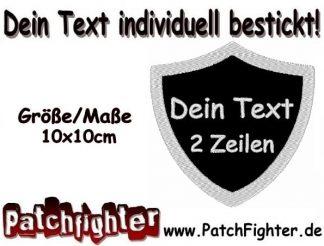 DEIN TEXT Wunschtext Wappen Patch Aufnäher 2 Zeilen 10x10cm