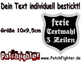 DEIN TEXT Wunschtext Wappen Patch Aufnäher 3 Zeilen 10x9,5cm