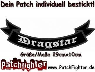 Dragstar-Schleife-Patch-Aufnäher-Rückenaufnäher-Biker-Bottom-Rocker-29x10cm