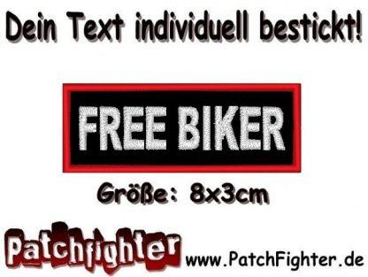 Free Biker Textilaufnäher Patch Aufnäher 8x3cm