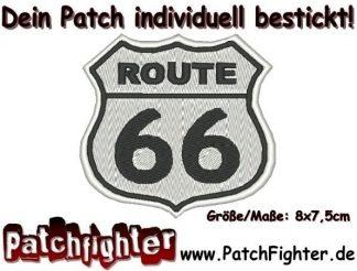 Route 66 Biker Patch Aufnäher 8x7,5cm