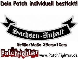 Sachsen-Anhalt-Schleife-Patch-Aufnäher-Rückenaufnäher-Biker-Bottom-Rocker-29x10cm