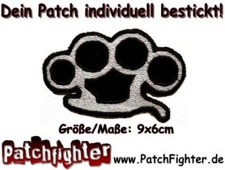 Schlagring Aufnäher Patch Hardcore Knuckleduster 9x6cm