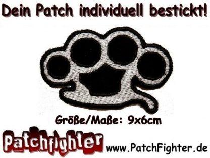 Schlagring Aufnäher Patch Hardcore Knuckleduster 9x6cm