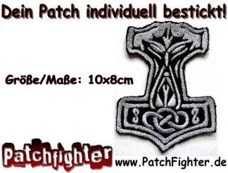 Thor Hammer Patch Aufnäher Larp Wikinger Odin 10x8cm