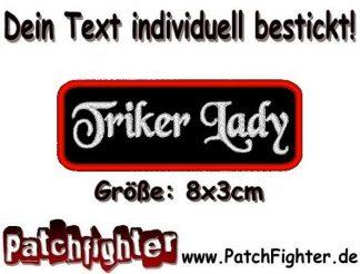 Triker Lady Textilaufnäher Patch Aufnäher 8x3cm