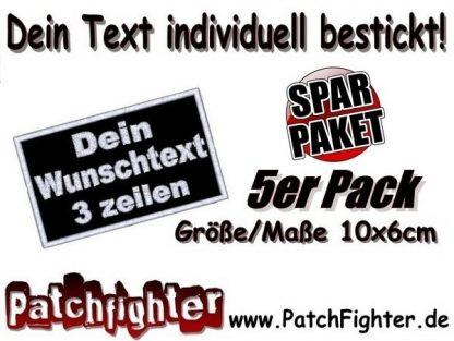 WUNSCHTEXT-3-Zeilen-Patch-Aufnäher-Applikation-Sparpaket-5er-Pack-10x6cm