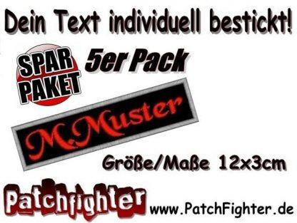 WUNSCHTEXT Dein-Text Patch Aufnäher 5er Pack Sparpaket12x3cm