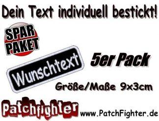 WUNSCHTEXT Dein Text bestickt Patch Aufnäher Abgerundet 5er Pack Sparpaket 9x3cm