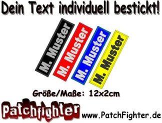 Namensschild Patch WUNSCHTEXT Aufnäher rechteckig 12x2cm