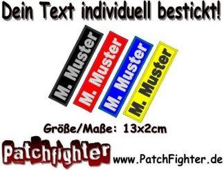 Namensschild Patch WUNSCHTEXT Aufnäher rechteckig 13x2cm