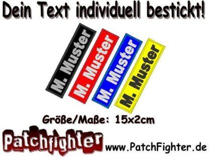 Namensschild Patch WUNSCHTEXT Aufnäher rechteckig 15x2cm