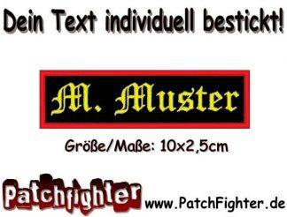 WUNSCHTEXT Dein Text Patch Namensschild Aufnäher Stickkabzeichen 10x2,50cm