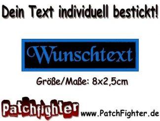 WUNSCHTEXT Dein Text Patch Namensschild Aufnäher Stickkabzeichen 8x2,5cm