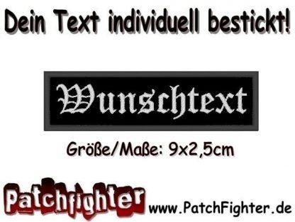 WUNSCHTEXT Dein Text Patch Namensschild Aufnäher Stickkabzeichen 9x2,5cm