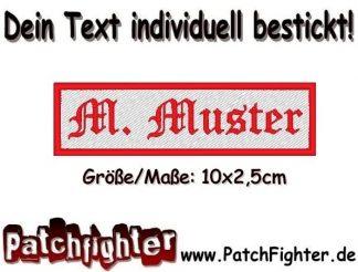 WUNSCHTEXT bestickt Dein Text Patch Namensschild Aufnäher Stickkabzeichen 10x2,50cm zum aufbügeln