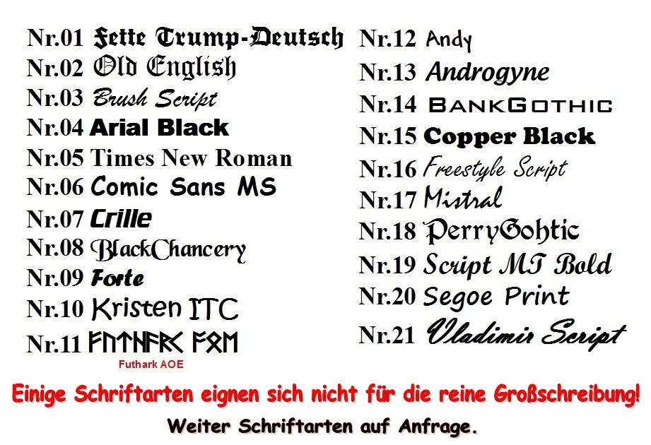 Dein TEXT Namensschild Schriftarten