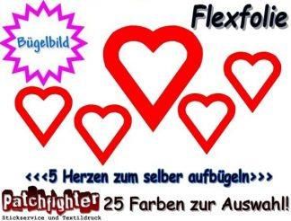 Herzen Bügelmotiv Flex 01