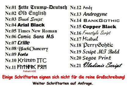 Bügelbild Schriftarten