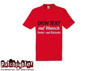 T-Shirt 1 Zeile Ihr Text 20cm als Flexdruck