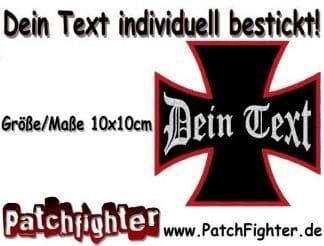 Dein-Text-Wunschtext-aufnäher-Eisernes-Kreuz-Iron-cross-Patch-10x10cm