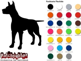 Dobermann Bügelbild Bügelmotiv Hund Flexfolie Hotfix Dog Aufbügler