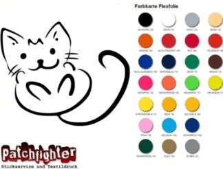 Katze Bügelbild Bügelmotiv Kitty Flexfolie Hotfix Cat Aufbügler