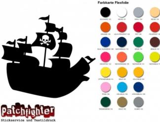 Piratenschiff Bügelbild Bügelmotiv Pirat Flexfolie Hotfix Pirate Aufbügler